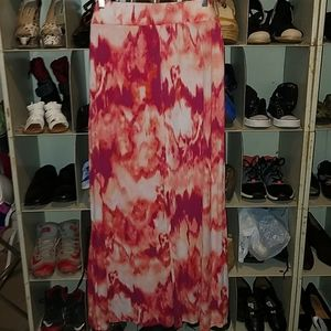 Ana red coral white print skirt size 1x